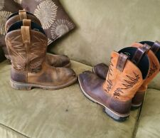 2 IRISH SETTER MARSHALL LEATHER STEEL TOE COWBOY WORK BOOTS #83910 & 12 MEN'S 9D