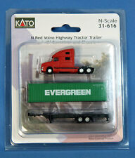 Kato N Red Volvo Highway Tractor Trailer w/ 40' Container & Chassis 31-616