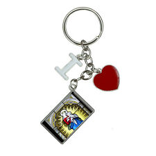 Stained Glass Virgin Mary and Jesus Madonna I Heart Love Keychain Key Ring