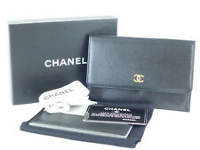Authentic CHANEL CC Black Leather Card Clear Folder Wallet Cover Case + Card Box