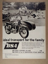 1961 Bsa 650 & 500 Twin Motorcycles with Sidecar vintage print Ad