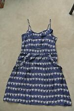 NEW - MARC BY MARC JACOBS  Bow Prints Ruffle Front Blue Silk Dress size 12 L NWT