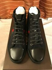 Gucci mens hi top web canvas trainers brand new in box uk size 9 black italy