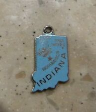 Vintage Wells Indiana Hoosier State Blue Enamel State Map Sterling Silver Charm