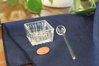 Open Square Crystal Salt Cellar Salt Dip with Glass Spoon