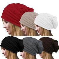 Women's Stretch Knit Hat Messy Bun Crochet Wool Beanie Holey Warm Hats Winter