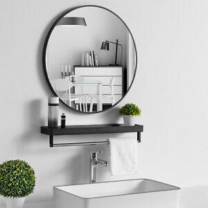 50cm Black Wall Mirror Round Frame Home Bathroom Glass Mounted Vanity Circle