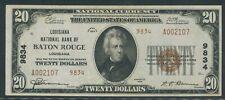 """FR1802-2 #9834 $20 1929 NATIONAL """"BATON ROUGE, LA"""" GEM UNC FINEST KNOWN WLM8564"""