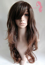 W2 Dark Brown Mix Ombre Like Real Ladies Full Wig Long Wavy Natural Skin Top