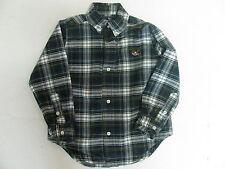 EUC Navy Blue Green White Plaid American Living Oxford Shirt Boys Size 3 3T