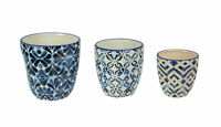 Set of 3 Blue and White Ceramic Geometric Design Mini Planter Pots