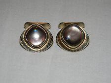 Vintage Dark Mother of Pearl on Gold Filled Cufflinks