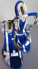 Dolce & Gabbana D&G Blue Strappy Sandal Pump Summer Sz 9/40 NEW in BOX Rt $695