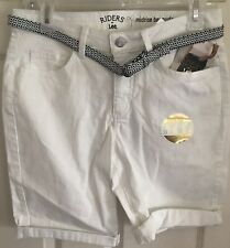 Riders by Lee white cotton/spandex flat front Bermuda Shorts sz 6 inseam 11  NWT