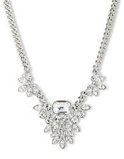 $125 Givenchy Silver Tone & Crystal Frontal Toggle Necklace NEW