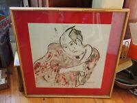 "Japanese Oil Pastel Drawing on Paper Signed ""Aphrodite '79"" Original Fine Art"
