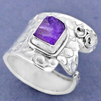3.14cts Natural Purple Amethyst Rough 925 Silver Adjustable Ring Size 8.5 R63452