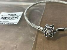 "Genuine Pandora Snowflake Bracelet ""Shine Bright"" Star Clasp Mesh Bangle 19cm."