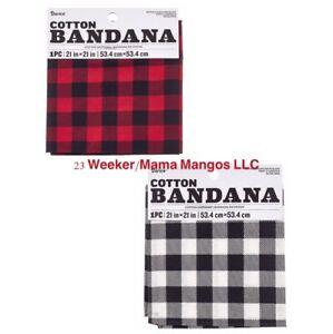 Bandana Headband Red White Black Buffalo Check Plaid Embroidery Craft Pet Unisex