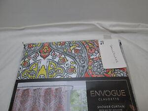 NEW Envogue CLAUDETTE Fabric Shower Curtain 72x72~ Yellow, Coral, Gray, Orange