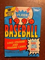 1990 Fleer Baseball 10th Anniversary Edition Factory Sealed Pack - 15 Cards