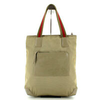 GUCCI Leather & Canvas Tote Shoulder Bag in Beige - Made in Italy Y2K
