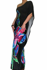 Womens Maxi Dress Kaftan Boho One Shoulder Size 10 12 14 16