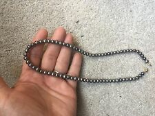 "Black Fresh Water Pearl 16"" Necklace with 14K Gold Clasp"