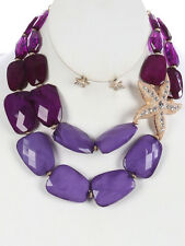 Two Layers Multi Purple Lucite Bead Gold Tone Side Starfish Necklace Earring