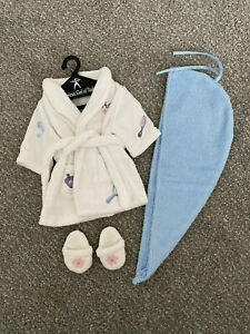 American Girl Doll Spa Robe & Slippers with Blue Hair Towel EUC