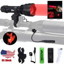 Zoom Red LED Coyote Hog Predator Varmint Hunting Light Beam Lamp w/ Scope Mount