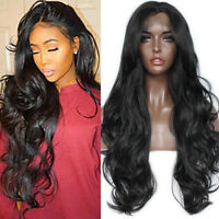 Women's Black Synthetic Lace Front Wig Long Hair Body Wavy Glueless Full Wigs