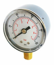 Pressure Gauge 0/100 PSI & 0/7 Bar 50mm Dial 1/4 BSPT Bottom connection.