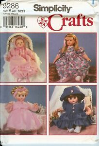 Simplicity 9286 Doll Clothes Girl Baby Dresses Hats sewing pattern UNCUT FF VTG