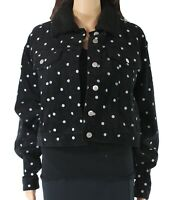 Fika The Brand Womens Jacket Black Size Small S Corduroy Dot-Print $58- 513