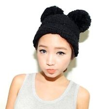 Black Double Pom Pom Ears Knitted Hats and Caps, Winter Beanie Crochet