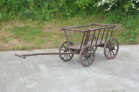old vintage dog cart/ pony cart with wooden wheels