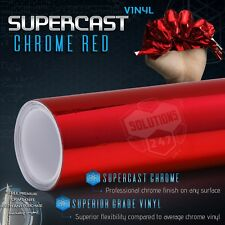 "Red Supercast Flex Stretch Mirror Chrome Vinyl Wrap Bubble Free - 60"" x 120"" In"