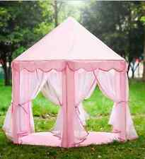 Pink Princess Castle Tent with Fairy Lights Play House Large Kids Canopy Teepee