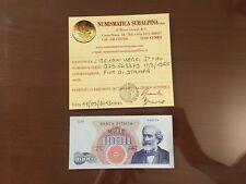 BANCONOTA LIRE 1000 VERDI I TIPO 10 8 1965 certificata FDS SABAUDA