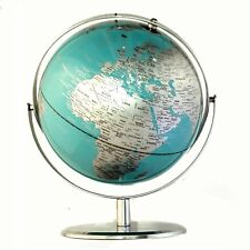 EXQUISITE HIGH QUALITY Double Axle World Globe Teal Chrome Home Decor 30cm