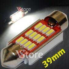 2 LED Lampada Siluro 39mm 12 SMD4014 No Errore Luci BIANCO Interno Targa Xenon
