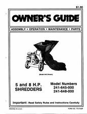 MTD Chipper Shredder Manual Model No. 241-645-648-000