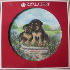 "ROYAL ALBERT  ENGLAND PRE YR2000 ""PLAYFUL PUPPIES GERMAN SHEPHERD DOGS RAGS"