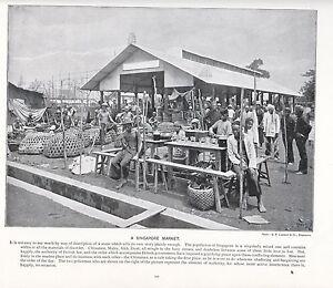 1897 VICTORIAN PRINT ~ A SINGAPORE MARKET CHINA ~ POLICEMEN ~ PLUS TEXT