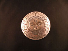 Old Navajo, Native American Sterling round pin, brooch, unique, hand stamped