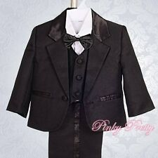 5pc Set Formal Suits Outfits Christening Wedding Page Boys Black 3m-6m ST022A
