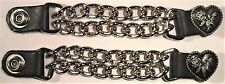 2 HEART LADIES DOUBLE MOTORCYCLE CHAIN BIKER MC VEST EXTENDERS MADE IN USA