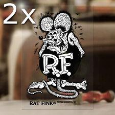 2x pieces Rat Fink original Ed Roth sticker decal genuine hot rod MOON small