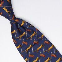 Salvatore Ferragamo Mens Silk Necktie Navy Blue Gold Red Lioness Flag Print Tie